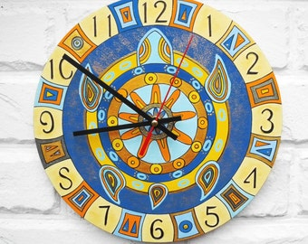The Blue Turtle Wall Clock, Home Decor for Children Baby Kid Boy Girl
