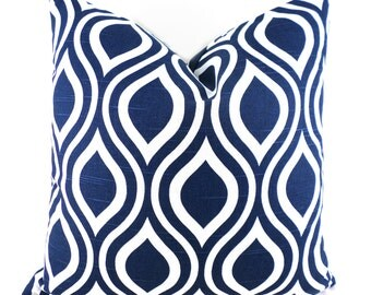 Pillow Covers ANY SIZE Decorative Pillow Cover Navy Blue Pillow Premier Prints Nicole Navy Blue