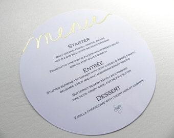 Gold & White Round Dinner Menus, Die Cut Circle - Style 149