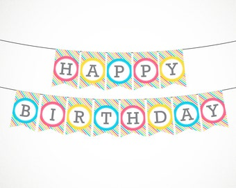 Printable Birthday Banner in Stripes, Instant Download