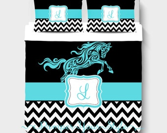 Horse Custom Bedding - Personalized or Monogrammed Comforter or Duvet - Aqua and Black Chevron