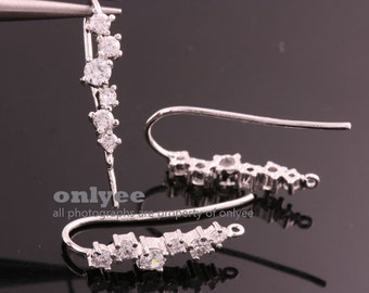 1pair/2pcs-26mmX3.5mmRhodium Plated over Brass 6pcs Cubics Zirconia ear wires earring, post Earring(K808S)