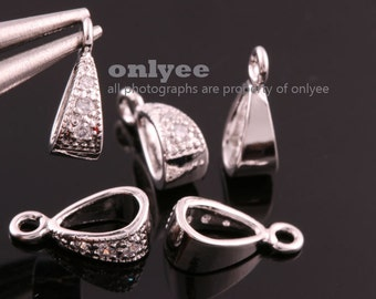 4pcs-10mmX3.5mmBright Rhodium plated Brass Cubic zirconia Pendant Clasp,Bail Connector(K819S)