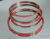 "Sponge CORAL Seed Beads Metal Channel Three Bangle Bracelets 1/16"""