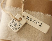 Liz Grise Listing- 10 Merci & French Bee Clay Tags
