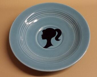 Aqua Plate with Barbie Silhouette