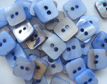 10.5mm Blue Square Shell Buttons, Pack Of 25 Small Shell Buttons, AS09