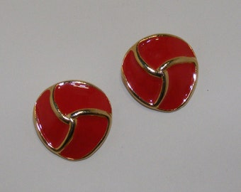 Vintage Red-Orange Enameled Shoe Clips