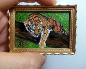 Miniature 1:12 Scale Handmade Original Oil Painting for Collectors / Dollhouse Artwork / Fridge Magnet / Fine Art / Jungle Tiger
