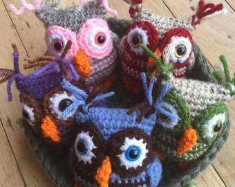 Crochet Owls and Nest