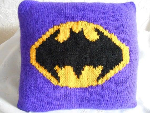 Batman Cushion Knitting Pattern : Batman Cushion CoverHand KnitBespokeBrightly by evista2011 on Etsy