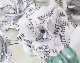 "Beautiful Wedding Sheet Music Flowers,  Paper Anniversary Gift White First Song Sheet Music Roses 2.5"" Diameter Set of 12"