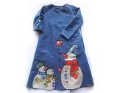 Vintage Girl Dress-Gray linen girls dress-flower girl linen-blue painted dress-ON ORDER ONLY-children clothing-girl dress-vintage girl dress