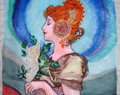 Handpainted  Art Nouveau Silk Original batik  The Feather A.Mucha motives.