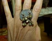 Vtg 70's India Banjara Silver Coin bells Ethnic tribal belly dance gypsy Adjustable ring