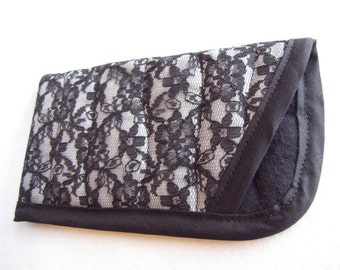 Gray and Black Lace Glasses Case, Black Lace Eye Glasses Case, Soft Glasses Case