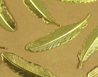10 pc. Raw Brass Feathers: 32.5mm by 8.5mm | RB-364