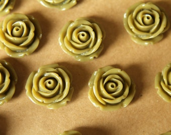 CLOSEOUT - 10 pc. Olive Green Large Rose Cabochons 19mm | RES-419
