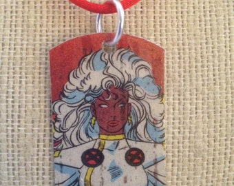 Storm upcycled comic book dog tag, includes necklace or keychain