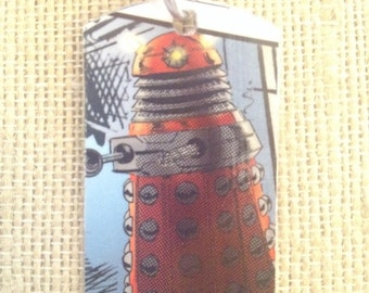 Dalek (Doctor Who) Upcycled Comic Book Dog Tag, includes necklace or keychain