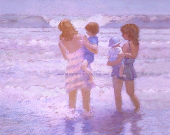 Beach greeting card 5x7 mothers at the seashore, Mother's Day, ocean, children, shore, blue, seaside art, lavender, pink, moms, son, baby
