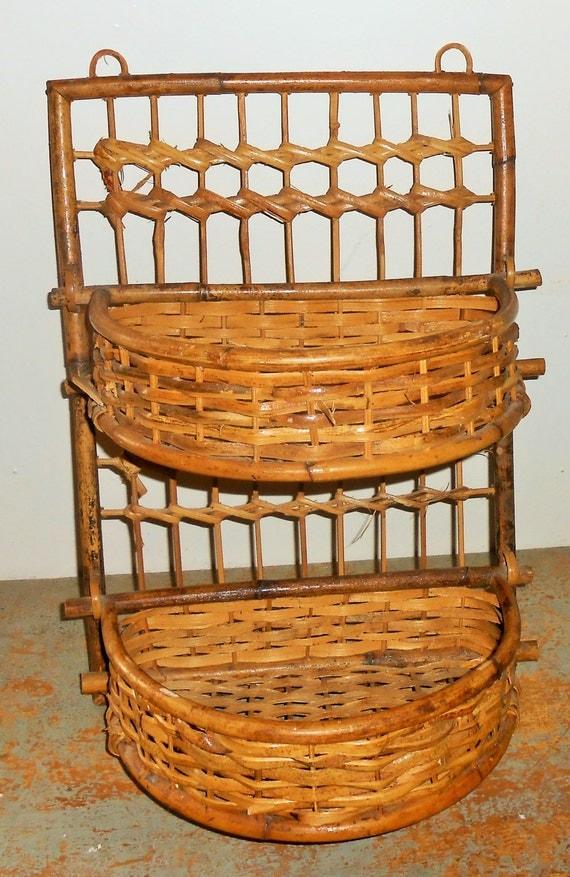 Vintage Shelf Bamboo Wicker Rattan Hanging Baskets Wall