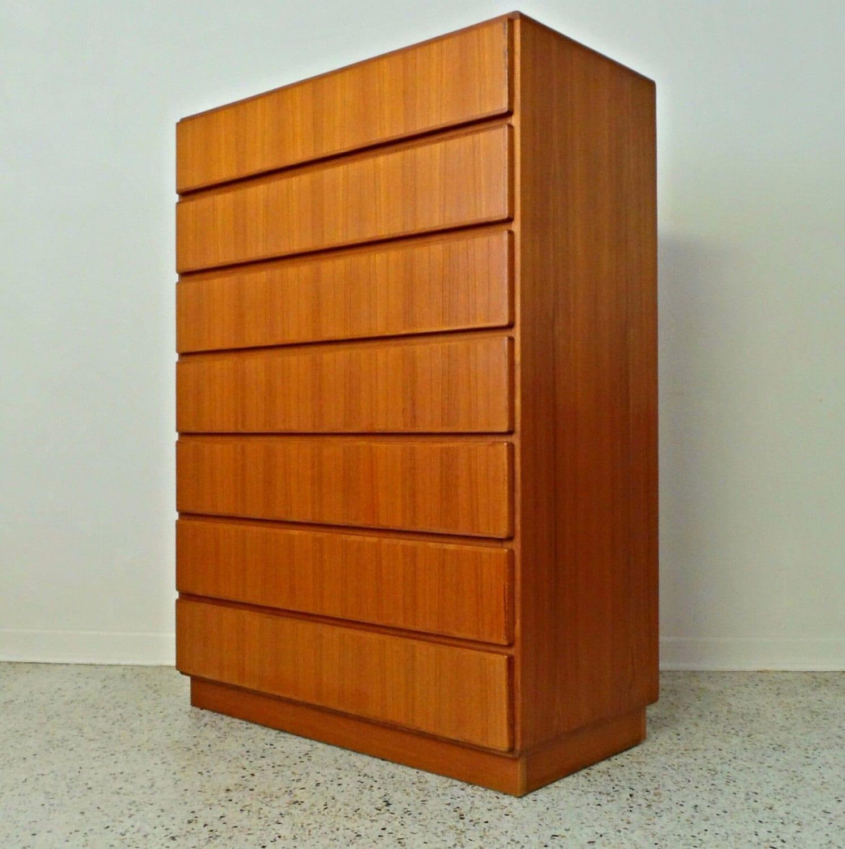 mid century danish modern teak tall smooth face 7 drawer chest. Black Bedroom Furniture Sets. Home Design Ideas