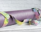 Rainbow Batik Droplets Adjustable Yoga Mat Strap Print Sling Carrier - Cotton Boho Batik Multicolored Dots Print Adjustable Yoga Mat Sling
