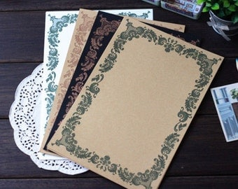 8 Sheets High Quality Lace Writing Paper - Stationery - Letter Paper - Brown Paper - Filofax - Ver D