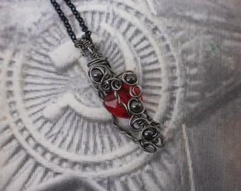 Red Raven Heart Pendant