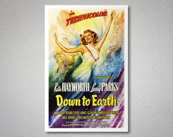 Down to Earth Movie Poster - Rita Hayworth -  Poster Paper, Sticker or Canvas Print