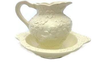 Lefton Porcelain Ivory Pitcher and Bowl Renaissance Cherubs