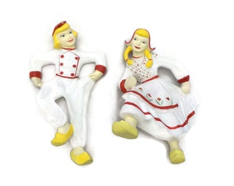 Dutch Boy and Girl Wall Hangings Plaster 1950s