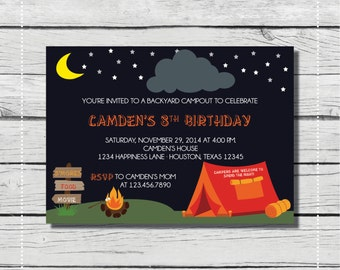 Backyard Campout Birthday Invitation. Kids' Birthday Invitation with Tent and Campfire. {DIGITAL PRINTABLE INVITATION} Birthday Invitation.