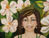 Young woman and Magnolia flowers original art, Sweet Magnolia
