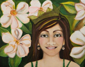 Young woman and Magnolia flowers 11x14 art print of the Original Painting Sweet Magnolia