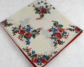 Vintage Hankie Handkerchief - Red, Pink, Blue Floral Design   for  Framing, Sewing, Crafts, Collage    H68
