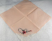 Vintage Hankie Handkerchief, WEDDING HANKIE, Soft peach, Delicate Crochet and Embroidery in Corner    H46