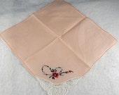 Vintage Hankie Handkerchief, WEDDING HANKIE, Soft peach, Delicate Crochet and Embroidery in Corner    H46