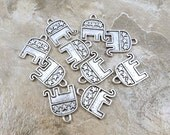 Set of Ten (10) Pewter GOP Republican Elephant Charms - 0207