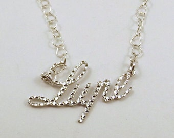 Sterling Silver Diamond Cut Name Necklace -Lupe- on Sterling Silver Heart Chain in Length of Choice -1309
