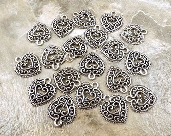 Twenty (20) Pewter Filigree Heart Charms - Free Shipping in the US - (0219)