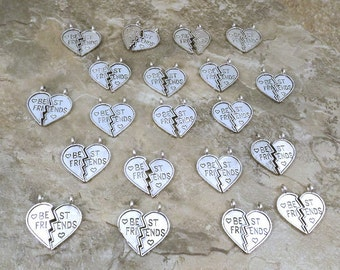 20 Pairs of Pewter Best Friend Heart Charms - Free Shipping in the US - 0988