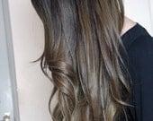 "Ash Brown Ombre Hair Extensions, Medium Ash Brown Ombre, Balayage Hair, Ash Blonde Ombre Hair, (7) Pieces, 20"",Custom Your Fade"
