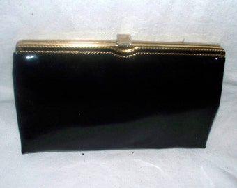 1960s Black Patent Leather Clutch - Purse  -  Vintage