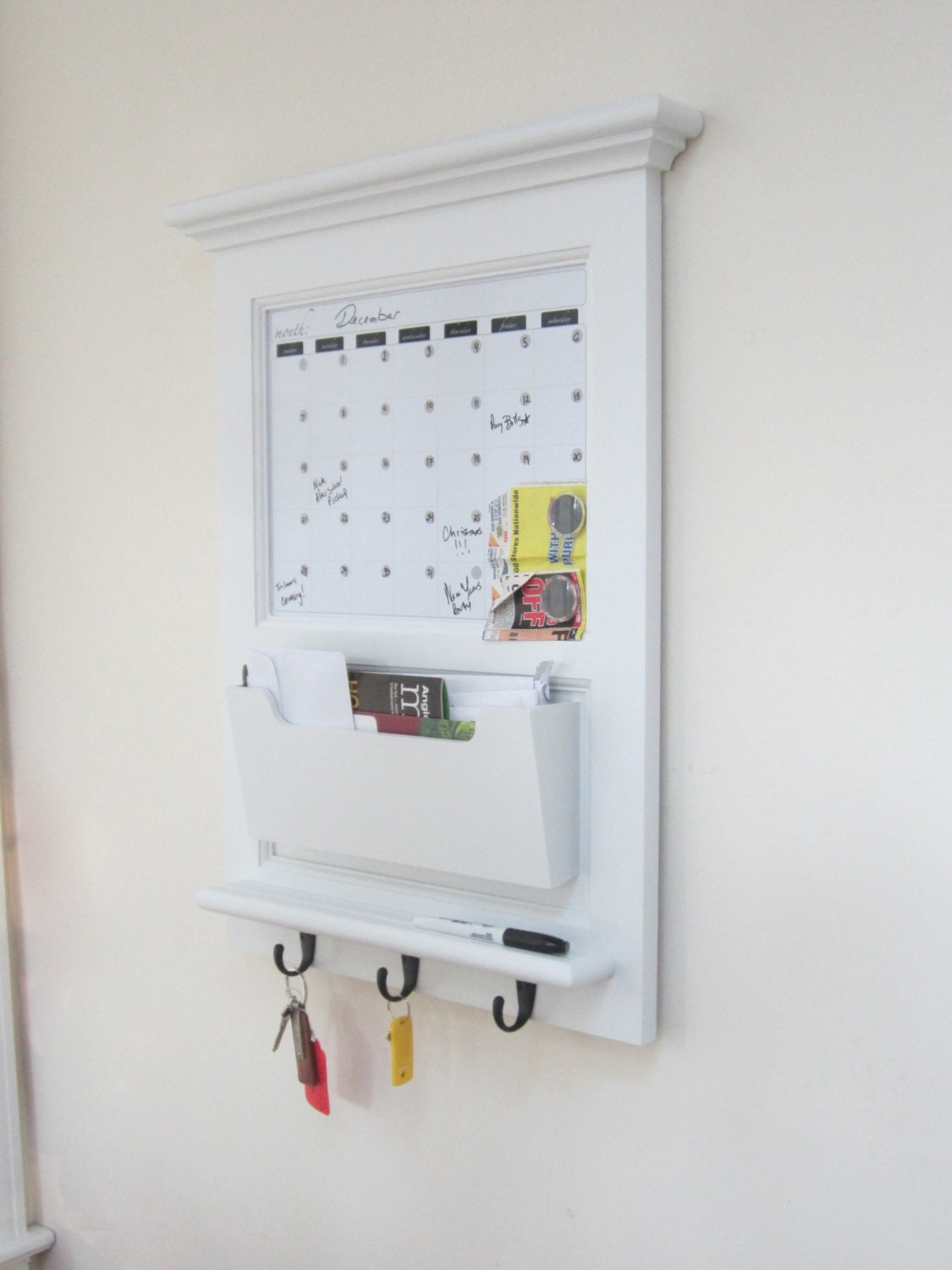 Wall Mail Organizer Magnetic Dry Erase By Sheldonwoodworks