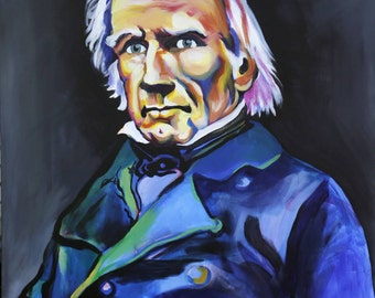 Henry Clay-The Great Compromiser. Kentucky Pop Art depiction of a great Kentucky Statesman, KY Pop Art Painting, Galerie Jerielle Painting