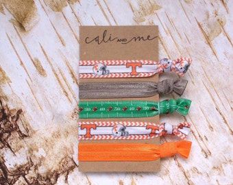 Tennessee Vols and Football Handmade Hair Ties. Elastic Hair Ties, Pony Tail Holders, Elastic Bracelets