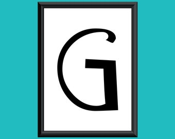 Typography Giclee Print Monogram Initial Wall Art Sybil Letter G
