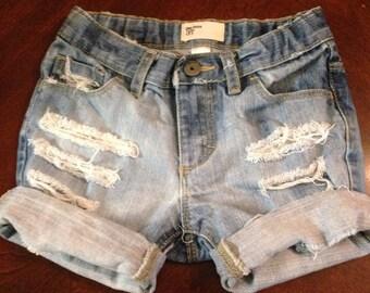 Custom Baby girl distressed cuffed jean shorts